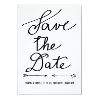Modern Calligraphy Script Wedding Save The Date 5x7 Paper Invitation Card
