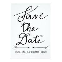 Modern Calligraphy Script Wedding Save The Date Paper Invitation Card