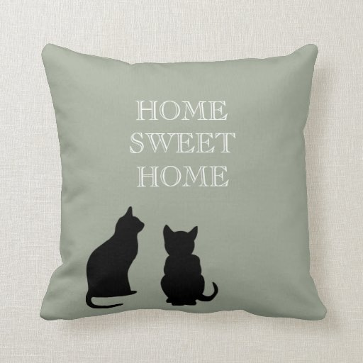 Modern cats illustration green Home Sweet
