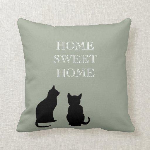 Modern cats illustration green Home Sweet