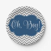Modern Chevron Navy Blue Gray Boy Baby Shower 7 Inch Paper Plate