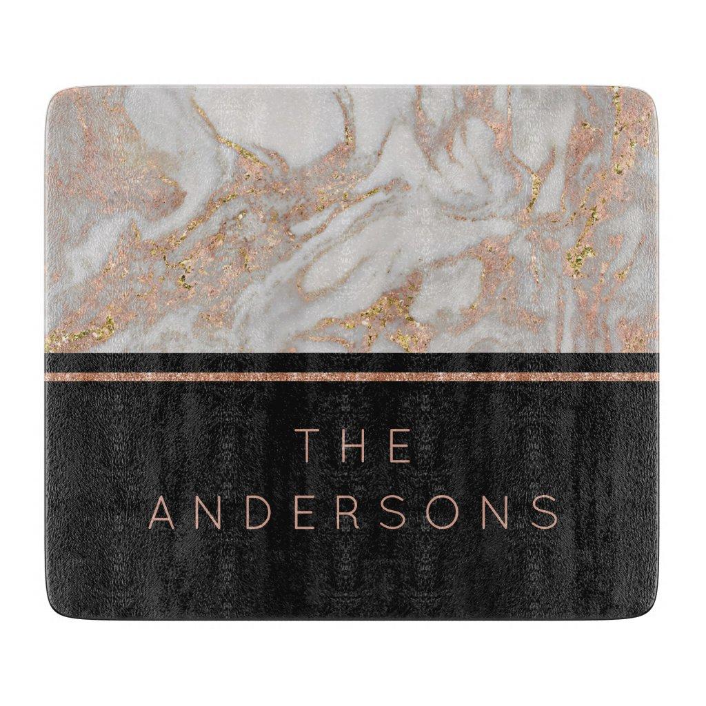 Modern Faux Rose Gold Marble Swirl Monogram Cutting Board
