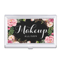 Modern Floral Wrapping Makeup Artist Calligraphy Business Card Case