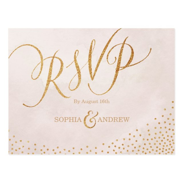 Modern glam blush rose gold calligraphy RSVP