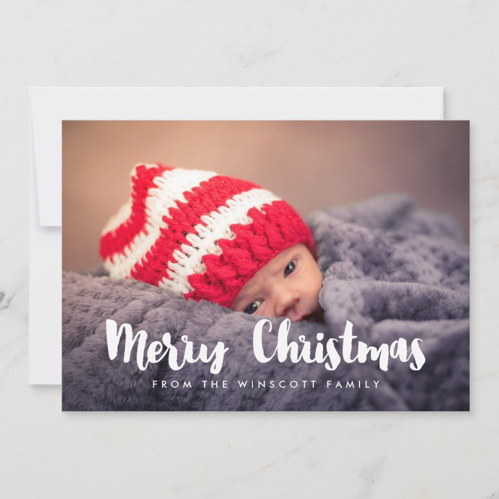 Modern Merry Christmas holiday photo card