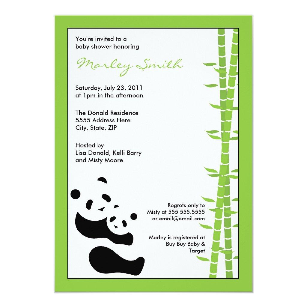 Modern Pandas & Bamboo 5 x 7 Invitation