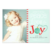 Modern Peace Love & Joy Christmas Photo 5x7 Paper Invitation Card