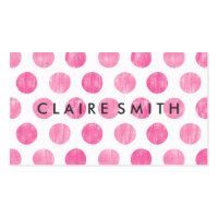 Modern pink large trendy polka dots pattern bakery business card
