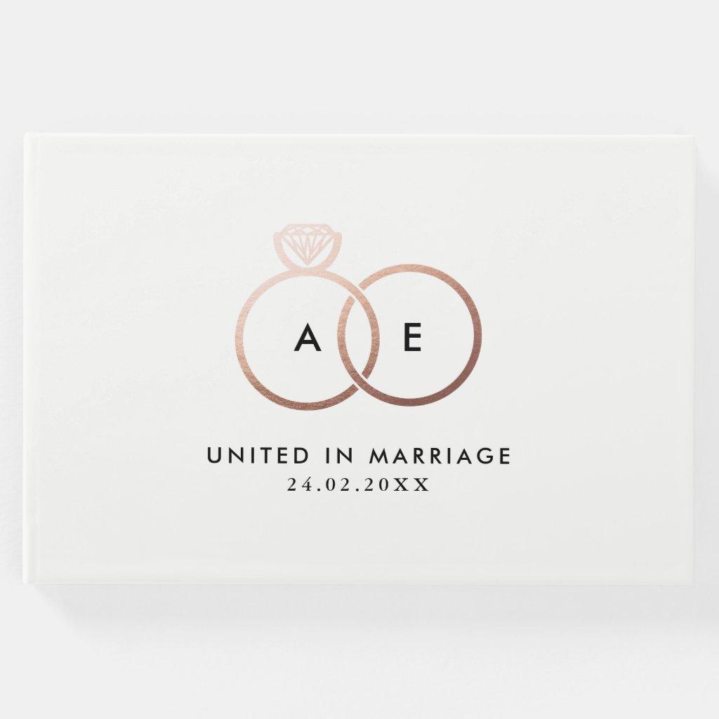 Modern Rose Gold Wedding Rings Monogram Guestbook