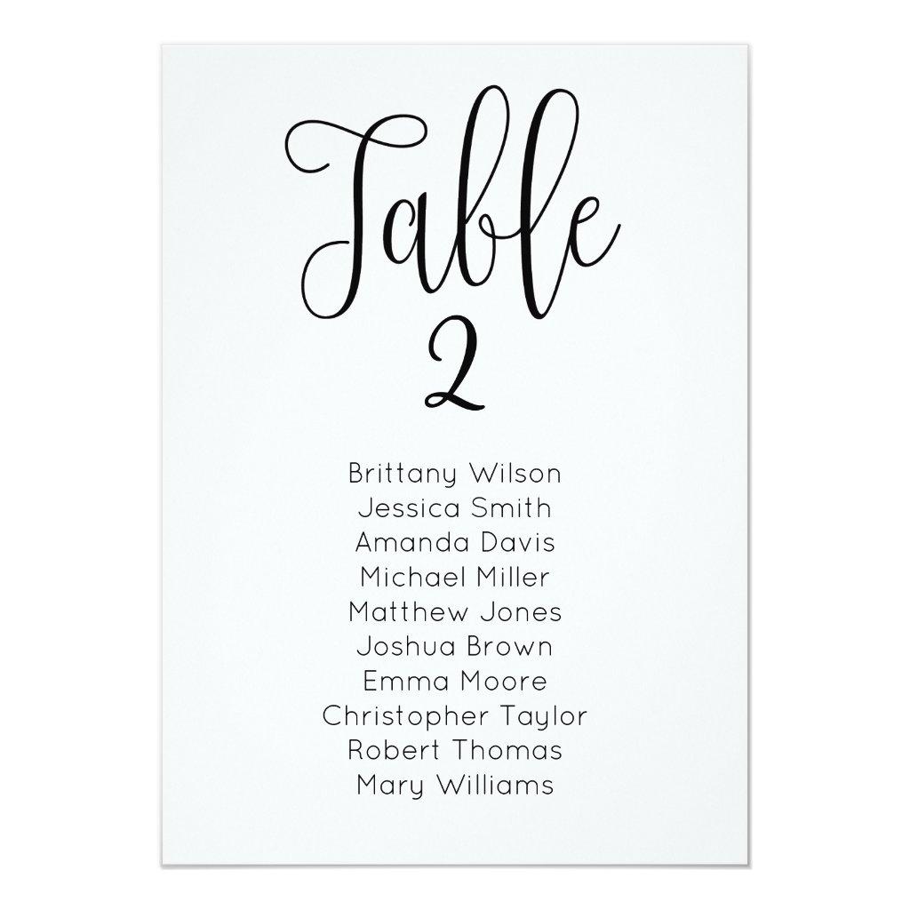 Modern wedding seating chart. Classic table plan Card