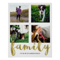 Family Photo Grid with Faux Gold Foil Poster