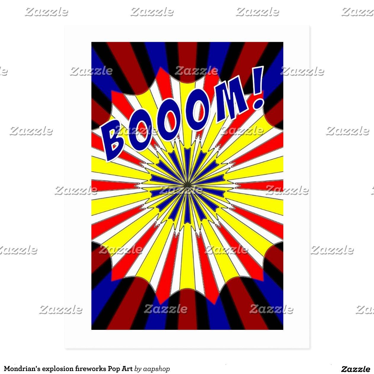 Mondrian's explosion fireworks Pop Art | Zazzle