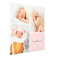 Monogram Baby Photo Collage Canvas Print