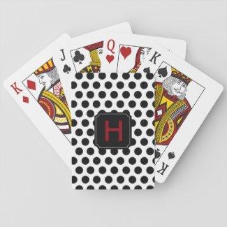 Monogram Polka Dot Playing Cards