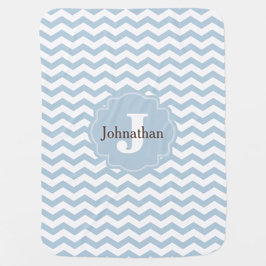 Monogram Chevron Baby Blanket