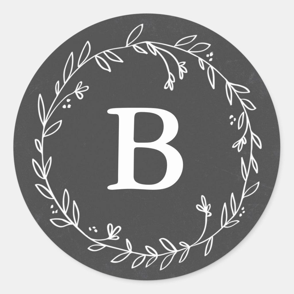 Monogram Chalkboard Wreath Stickers