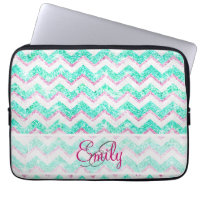 Monogram Chevron Glitter Laptop Sleeves