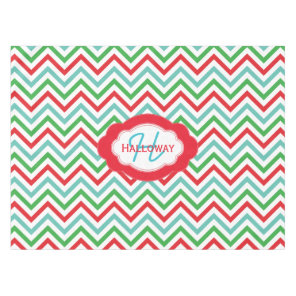 Monogram Colourful Chevron Christmas Tablecloth