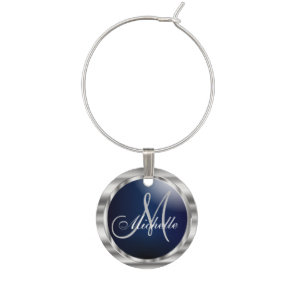 Monogram Dark Blue & Metallic Silver Wine Charm