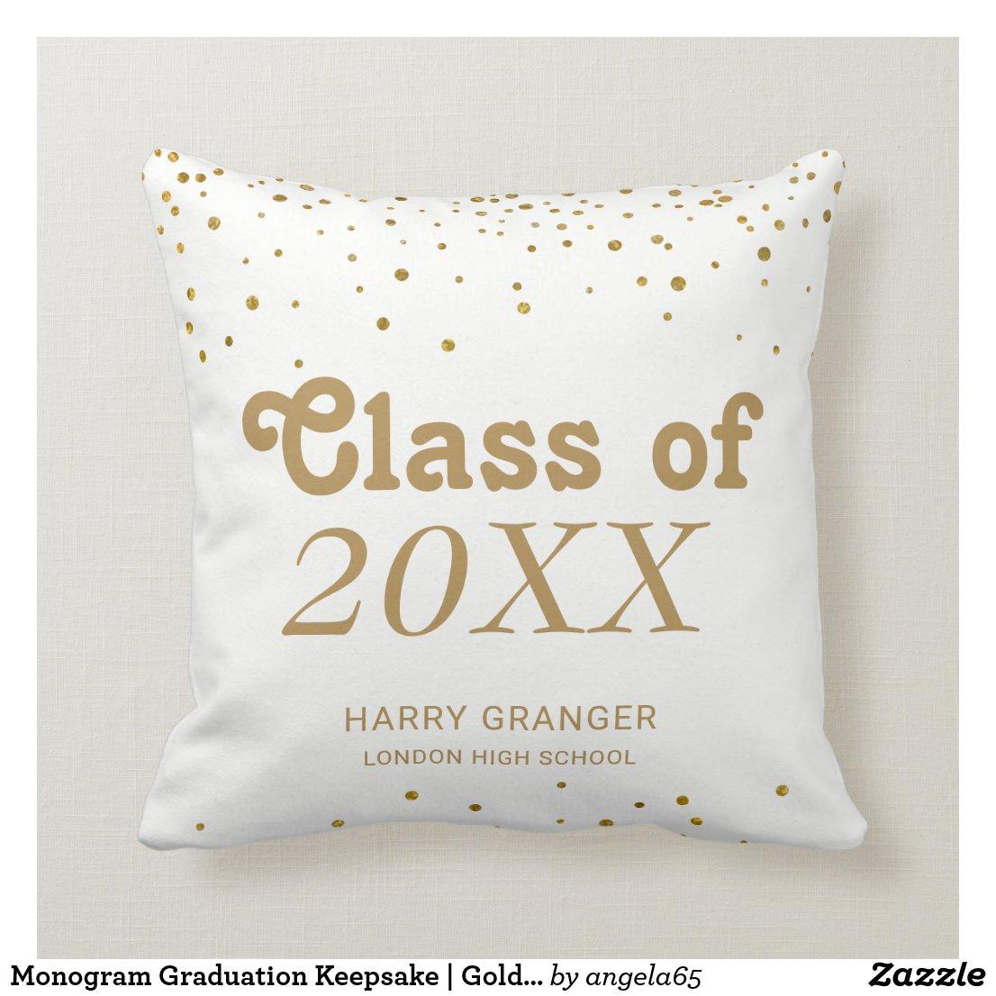 Monogram Graduation Keepsake | Gold Confetti Dots