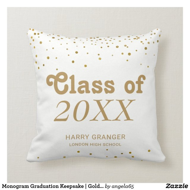 Monogram Graduation Keepsake | Gold Confetti Dots