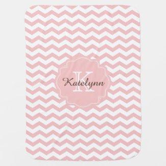 Monogram Pastel Pink Zigzag Baby Blanket