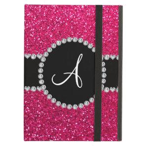 Monogram rose pink glitter diamond circle iPad air case