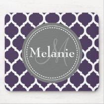 Monogrammed Purple & Grey Quatrefoil Mouse Pad