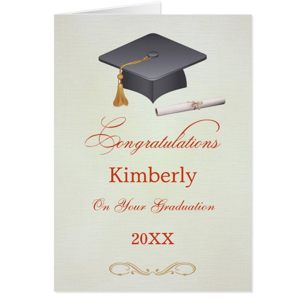 Mortar and diploma Graduation Congratulations Card