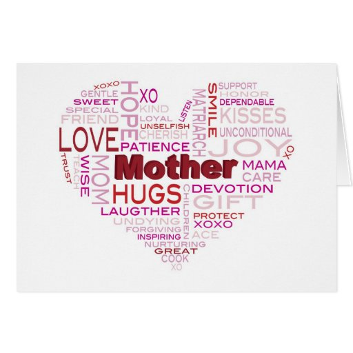Mother Word Cloud in Heart Greeting Card