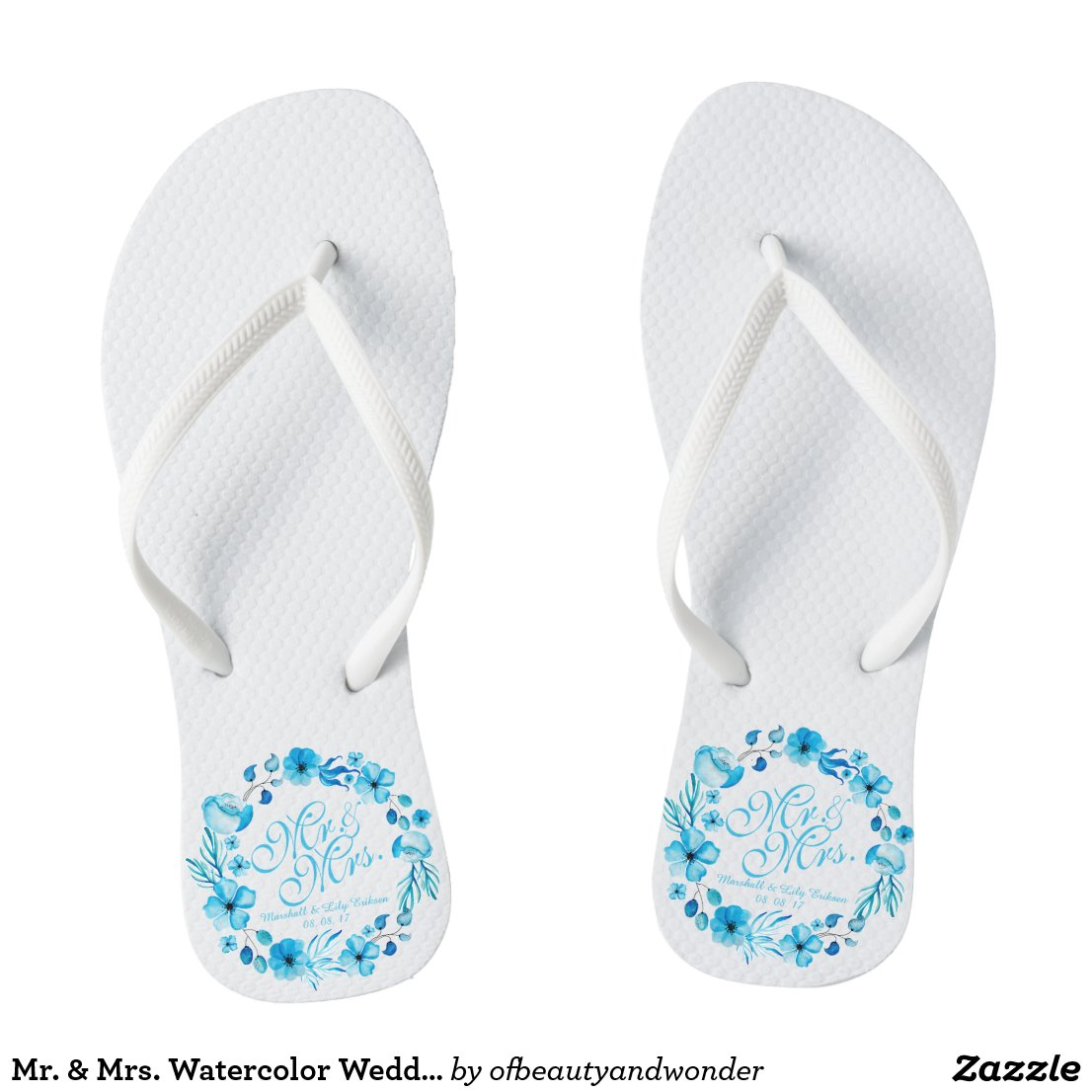 Mr. & Mrs. Watercolor Wedding Flip Flops