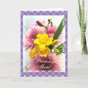 Mum's 80th birthday freesias change age) card