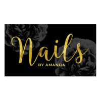 Nail Salon Gold Script Elegant Black Floral Business Card