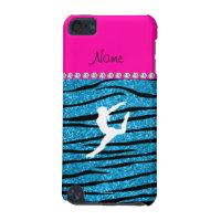 Name gymnast sky blue glitter zebra stripes iPod touch 5G case