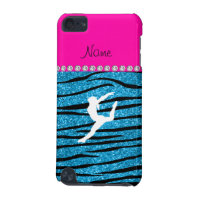 Name gymnast sky blue glitter zebra stripes iPod touch 5G case