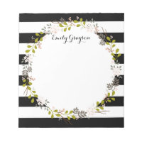Natural Woodland Floral Personalized Notepad