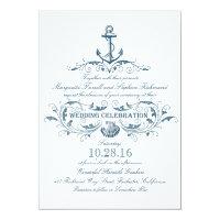 nautical anchor and seashell beach wedding invites