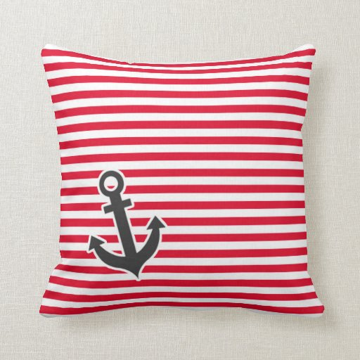 Nautical Anchor Striped Cushion