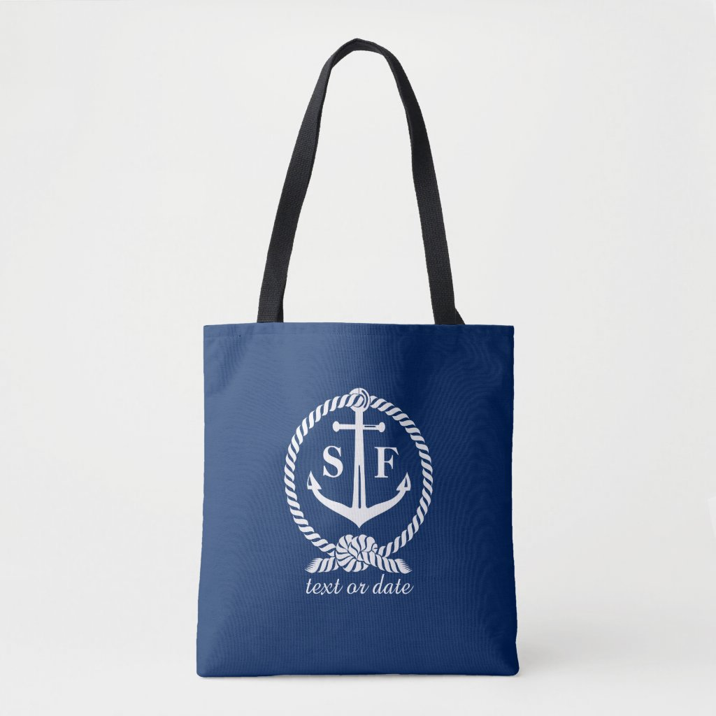 Nautical Blue and White Anchor Monogrammed Custom Tote Bag