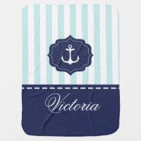 Nautical Mint Navy Blue Anchor Custom Name Baby Blankets