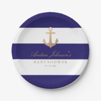 Nautical Navy Baby Shower 7 Inch Paper Plate