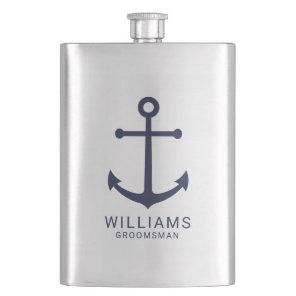 Nautical Navy Blue Anchor Personalised Groomsmen Hip Flask