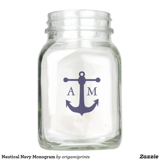 Nautical Navy Monogram Mason Jar