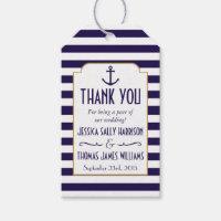 Nautical Navy & White Stripe Anchor Wedding Favor Gift Tags