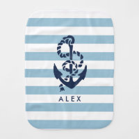 Nautical Nursery Blue Stripe Anchor Personalized Burp Cloth