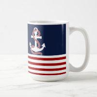 Nautical Red White Stripes and White Anchor Coffee Mug