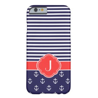 Navy Blue and Red Preppy Nautical Custom Monogram