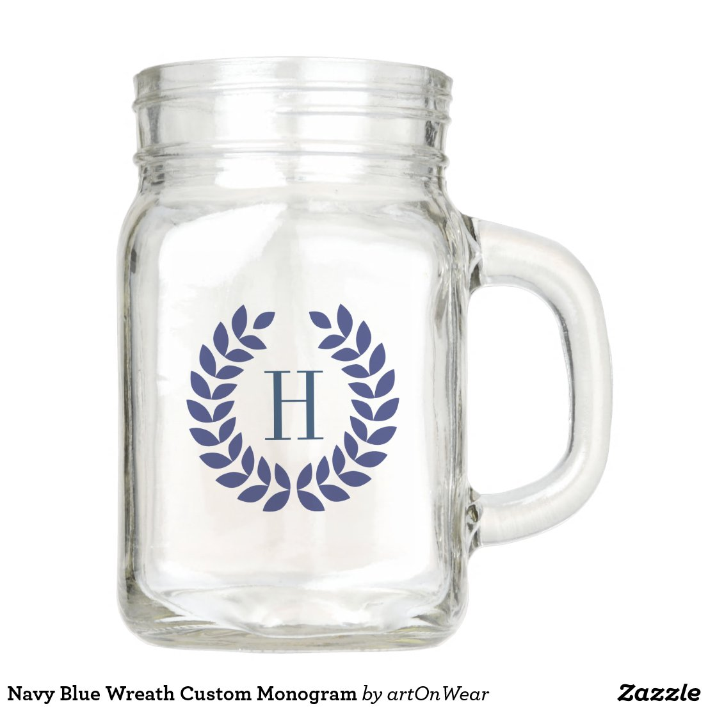 Navy Blue Wreath Custom Monogram Mason Jar