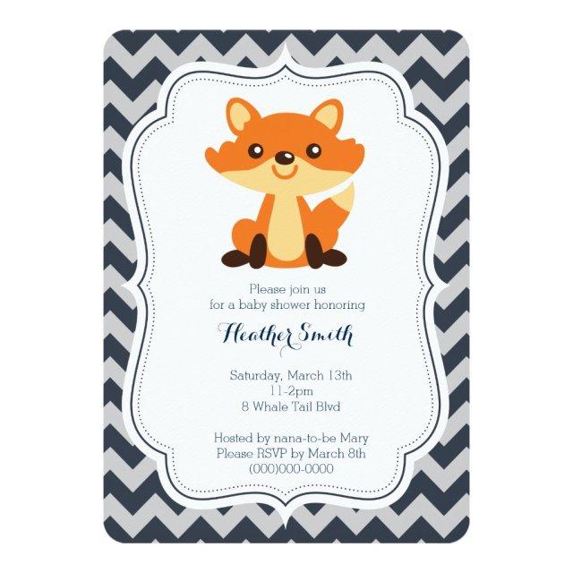 Navy Grey Fox Baby Shower Invitation