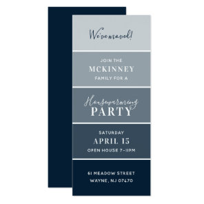 Navy Paint Swatch Card Housewarming Party Invite